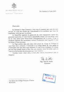 Réponse du Pape François 1er