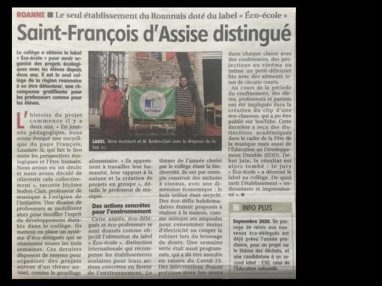 Article de presse sur Sainte Anne éco collège